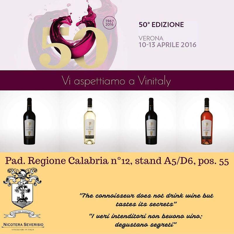 Nicotera Severisio azienda vinicola calabrese produttrice del vino bianco, rosso e rosè sarà presente al padiglione della regione Calabria, numero 12, stand A5/D6, postazione 55.