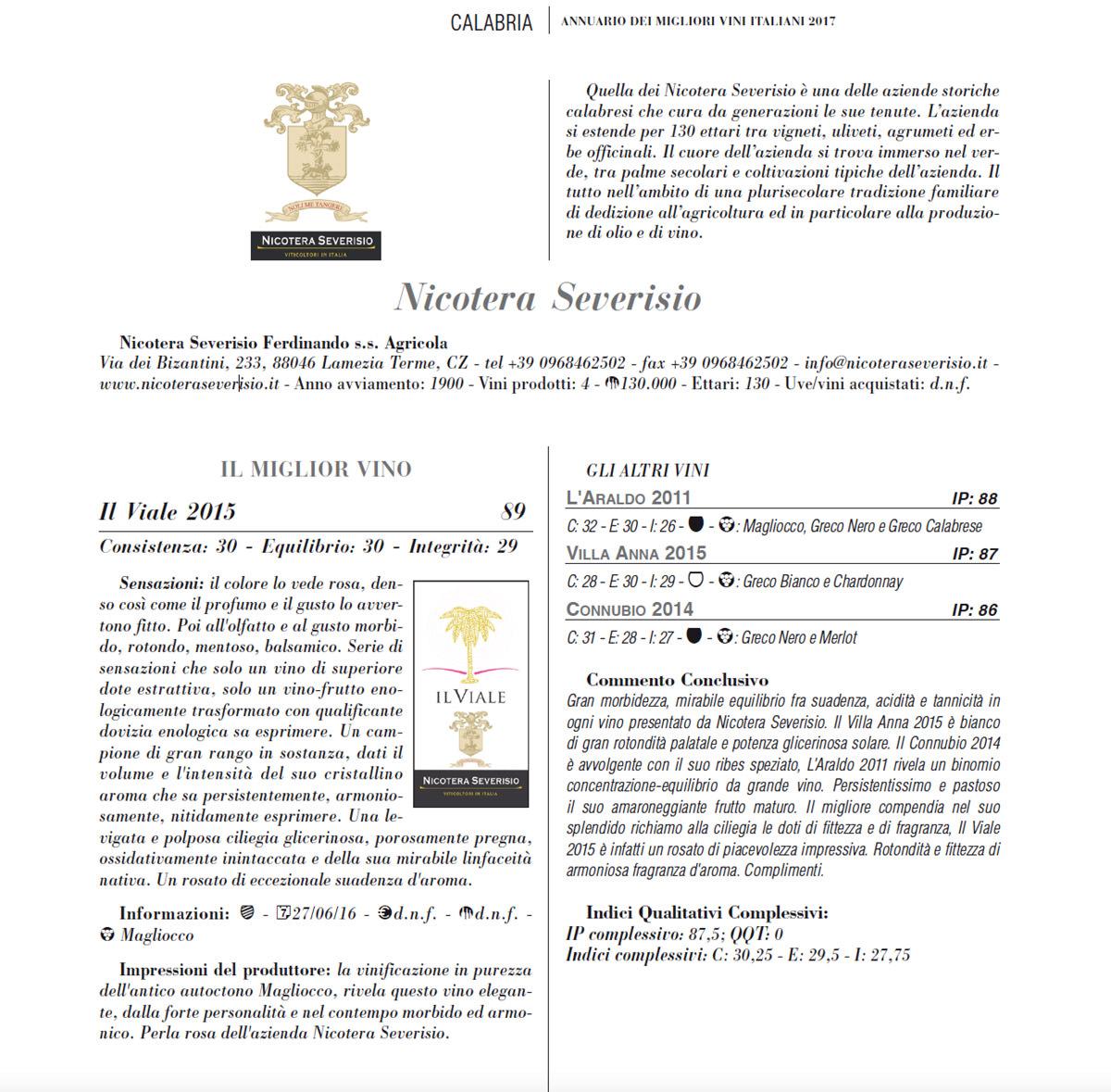 Menzione su Annuario dei migliori vini italiani 2017